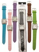 30 Units of UNISEX WATCH SQUARE LEATHERETTE ASSORTED COLORS