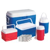COOLER SET 5 PC-11.75 GL COOLER/ 3.75 GL COOLER/ 1.6 GL COOLER/ 0.65 GL JUG/ 0.35 GL JUG/ 3 ICE PACKS-RED AND BLUE - Cooler & Lunch Bags