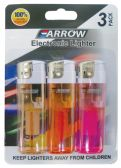 30 Units of ARROW ELECTRONIC LIGHTER 3 PACK ASSORTED COLORS - LIghters