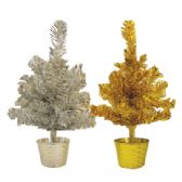 48 Units of TINSEL CHRISTMAS TREE 1 FOOT GOLD/SILVER - Party Misc.