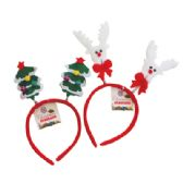 48 Units of CHRISTMAS HEADBAND ASTD REINDEER/CHRISTMAS TREE DESIGNS - Hair Scrunchies