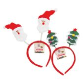 48 Units of CHRISTMAS HEADBAND ASTD SANTA/CHRISTMAS TREE DESIGNS - Hair Scrunchies