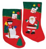 48 Units of CHRISTMAS STOCKING 16.5 X 9 INCH ASTD FELT DESIGNS - Christmas Sock