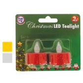 48 Units of CHRISTMAS LED TEALIGHT 2 PACK ASSORTED GLITTER COLORS