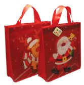 48 Units of CHRISTMAS BAG 13 X 12 X 3.5 INCH NON WOVEN SANTA AND REINDEER DESIGNS