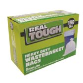 12 Units of REAL TOUGH WASTEBASKET BAG 130 CT 8 GALLON WHITE - Bags Of All Types