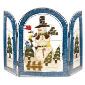 8 Units of CHRISTMAS SNOWMAN DECO HAND PAINTED FIREPLACE SCREEN 22 X 30 WIDE