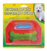 48 Units of PET WASTE BAG 20 PC WITH HOLDER - Pet Accessories