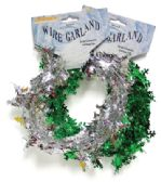 100 Units of METALLIC WIRE GARLAND SNOWFLAKE 9 FEET ASSORTED COLORS
