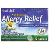 24 Units of ALLERGY RELIEF 24 HR 5 CT LORATADINE 10 MG NON-DROWSY COMPARE TO CLARITIN