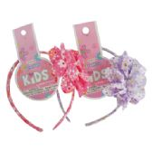 144 Units of GIRLS FLOWER HEADBAND ASSORTED COLORS - Hair Scrunchies