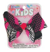 144 Units of GIRLS BARRETTE 4 INCH PRINTED BOW DESIGN - Hair Accessories