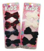 144 Units of GIRLS HAIR CLIPS 4 PC 2 INCH VELVET BOW DESIGN ASSORTED COLORS