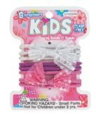 144 Units of GIRLS HAIR TIE 8 PC BOW DESIGN ASSORTED COLORS