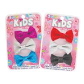 144 Units of GIRLS HAIR CLIPS 3 PC 2 INCH BOW DESIGN ASSORTED GLITTER COLORS
