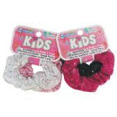 144 Units of GIRLS SCRUNCHIE HAIR TIE 2 PK SEQUIN DESIGN ASSORTED COLORS
