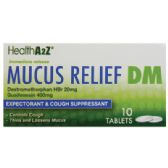 24 Units of MUCUS RELIEF DM 10 TABLETS COUGH SUPPRESSANT AND EXPECTORANT DEXTROMETHORPHAN HBR 20 MG/ GUAIFENSIN 400 MG