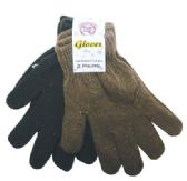 24 Units of GLOVE 2 PAIRS BLACK/BROWN ONE SIZE FITS ALL - Magic Acrylic Gloves