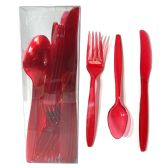 30 Units of PLASTIC CUTLERY COMBO 24 COUNT HEAVY DUTY RED - Dinnerware > Spoons & Forks