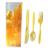 30 Units of PLASTIC CUTLERY COMBO 24 COUNT HEAVY DUTY YELLOW - Dinnerware > Spoons & Forks