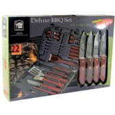 6 Units of BBQ TOOLS 22 PCS - SPATULA FORK TONG BASTING BRUSH GRILL BRUSH 5 STEAK KNIVES 4 SKEWERS AND 8 CORN HOLDERS - Bbq Supply