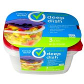6 Units of FOOD CONTAINERS DEEP DISH 3 COUNT W/LIDS 64 OUNCE RESUSABLE LEAK RESISTANT DISHWASHER MICROWAVE AND FREEZER SAFE BPA FREE - STORAGE HOLDERS/ORGANIZERS
