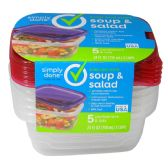 6 Units of FOOD CONTAINERS SOUP AND SALAD 5 COUNT W/LIDS 24 OUNCE RESUSABLE LEAK RESISTANT DISHWASHER MICROWAVE AND FREEZER SAFE BPA FREE - STORAGE HOLDERS/ORGANIZERS