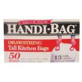 6 Units of HANDI BAG DRAWSTRING TALL KITCHEN BAG 50 COUNT 13 GALLON - Garbage & Storage Bags