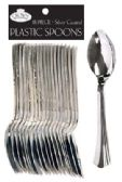 36 Units of CROWN DINNERWARE PLASTIC CUTLERY 18 COUNT SPOON SILVER COATED