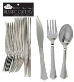 36 Units of CROWN DINNERWARE PLASTIC CUTLERY 18 COUNT COMBO SILVER COATED - Disposable Cutlery