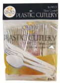 24 Units of CROWN DINNERWARE PLASTIC CUTLERY 36 CT COMBO SILVER COATED - Disposable Cutlery
