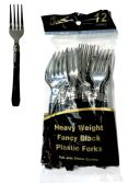 48 Units of SILVER COATED PLASTIC FORK WITH BLACK HANDLE 12 COUNT - Dinnerware > Spoons & Forks