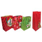 104 Units of CHRISTMAS BOTTLE BAG AND GIFT BAG MEDIUM ASSORTED DESIGNS PREPRICED $1.00 - Christmas Gift Bags and Boxes