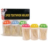 48 Units of TOOTHPICKS 3 PACK IN DISPENSER - Toothpicks