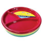 48 Units of PLASTIC PLATE 10 INCH WITH 3 COMPARTMENTS 4 PACK ASSORTED - Dinnerware > Plates