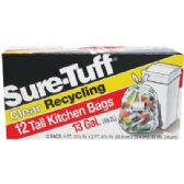 24 Units of SURE-TUFF KITCHEN BAGS 13 GALLON 12 COUNT FLAP TIE CLEAR RECYCLING - Garbage & Storage Bags