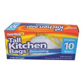 24 Units of TALL KITCHEN TRASH BAGS WHITE 13 GALLON 10 COUNT DRAWSTRING WHITE