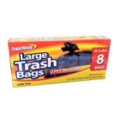 24 Units of POWER HOUSE TRASH BAGS BLK LG 30 GAL 8 CT 2PLY STRENGTH WITH TIES