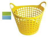 48 Units of FLEXIBLE BASKET WITH HANDLES ROUND 1.85 GALLON ASSORTED COLORS - Baskets