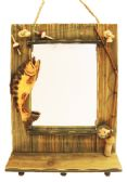 6 Units of HANGING WALL MIRROR W/ FISH DECO 19.5 X 13.5 INCH WITH HOOKS WOODEN - Hooks