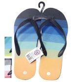 24 Units of Men's Striped Flip Flops - Men's Flip Flops & Sandals