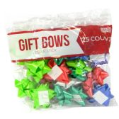 48 Units of GIFT BOWS 25 COUNT MEDIUM ASSORTED COLORS PEEL N STICK MADE IN USA - Bows & Ribbons