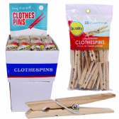72 Units of QUALITY WOODEN CLOTHES PIN LARGE 30 PK IN DISPLAY - Clothes Pins