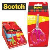36 Units of SCOTCH KIDS SCISSORS 5 INCH SOFT TOUCH HANDLES ASTD IN DISPLAY - Scissors