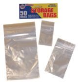 48 Units of RESEALABLE STORAGE BAGS 50 COUNT ZIPLOCK ASSORTED SIZES CLEAR - Bags Of All Types