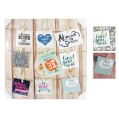 12 Units of MEMORY BOARD WITH 9 WOOD CLIP HANGERS ASSORTED COLORS - Hangers