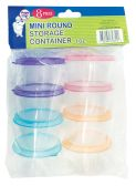36 Units of STORAGE CONTAINER 8 PIECE MINI ROUND 3 OUNCE - Storage Holders and Organizers