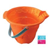 24 Units of BEACH BUCKET 11 X 9 INCHES ASSORTED COLORS - Beach Toys