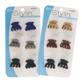 144 Units of LADIES VELVET CLAW CLIPS 6 PC 1 INCH ASSORTED COLORS