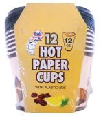 36 Units of PRIDE HOT PAPER CUP 12 OUNCES 12 CUPS + 12 LIDS - Disposable Cups